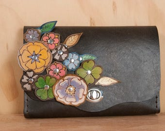 Leather Waist Purse - Small Leather Box Clutch in the Flower Garden Pattern - Use as Bum Bag - Clutch - Shoulder Bag or Crossbody Bag