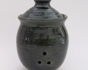 Garlic Keeper Storage Jar - Black Glaze