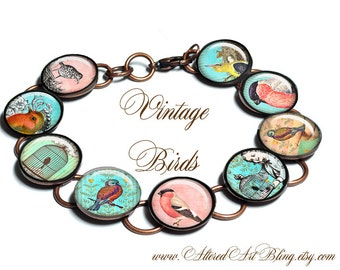 Vintage Birds, bracelet, gift box,pastels, birds,bird cages,victorian,vintage images, photo bracelet, custom jewelry,turquoise, coral