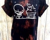 A (Ladies XL) Zombie cherry Cupcake BlackTie Dye Dark Halloween swirl orange Organic T-shirt by Love Rocky The Zombie