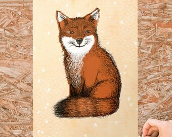Foxy Giclee Art Print, FREE Ship US, wall art, baby art, home decor, wall gallery, fox art, nursery, cabin art, dorm decor, woodland print