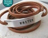 FLASH SALE, WRITER Bracelet, leather wrap, choose leather color, author gift, poet gift, novelist braclet, writing bracelet, gift for writer