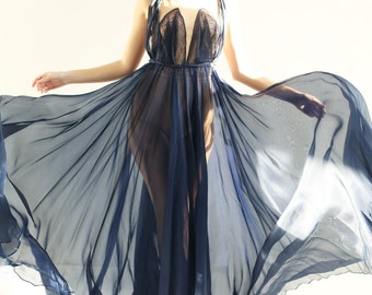 Sample SALE -  ethereal navy fine silk organza gown