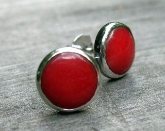 20% OFF Today Red coral sterling silver stud earrings