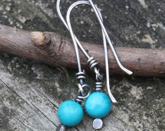 Natural blue turquoise sterling silver dangle earrings