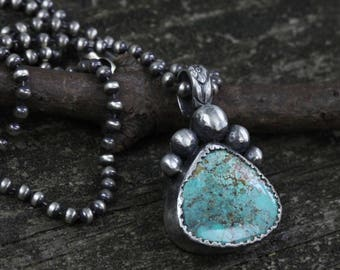 Kingman mine American turquoise sterling silver necklace