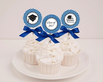 Printable Royal Blue Graduation Cupcake Toppers - Instant Download