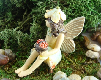 Miniature Fairy Garden Fairy - Pale Blue and Yellow