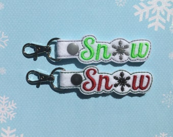 Snow Key Chain, Embroidered Key Fob