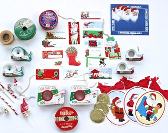 Vintage Mid Century Christmas Gift Wrapping Kit