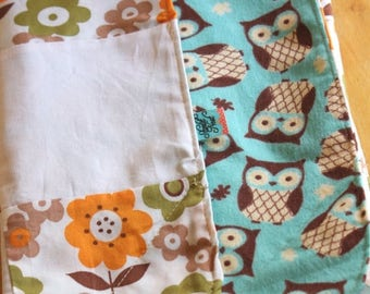 HALF OFF Modern Crinkle Baby Blanket, Owls and Flowers Orange, Aqua & White. Cotton and Flannel, ready to ship Sensory Blanket, Quilt