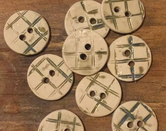 FREE SHIPPING Set of 9 Handmade Ceramic Buttons - Blue Plaid