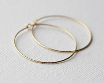 Gold Hoop Earrings, Geometric Jewellery, Sparkly Round Earrings, Minimal Jewelry, Gold Fill Geometric Jewelry, Everyday Hoop Earrings