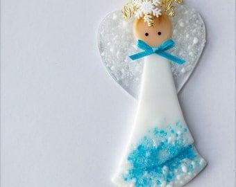 Holiday Angel, Fused Glass Angel, Glass Angel, Christmas Angel, Angel Ornament, Angel, Fused Glass, Handmade, CGGE, TT, 001