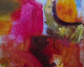 Abstract  oil painting, bright warm colours, fuchsia, gold, red, green,  12 x 10 inches, original oil on canvas board