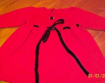 girls christmas holiday cotton velvet picot hemmed puff sleeve red cotton dress size 2