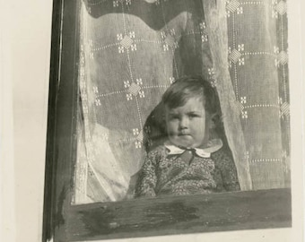 vintage photo 1927 Our Little Boy Bobby Looks Out Lace Curtain Window