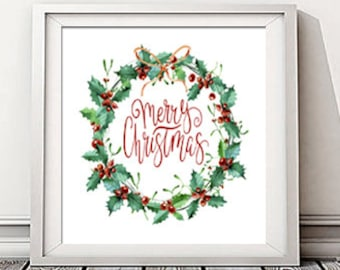 Instant Download! Merry Christmas Holly Berry Wreath Watercolor Print in Two Sizes (12x12, 10x10) Holiday Decor Printable Mantel Decoration