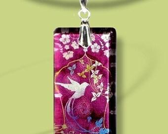Plum Hummingbird Glass Necklace - GeoForms SHIMMERZ - Reversible Glass Art Necklace - Plum Botanical Bird