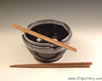 Noodle Bowls - Set of 2 - Handmade Ceramic - Stoneware Chopstick Dishes - Soup Bowls - Ramen or Rice Bowls - Temmoku Brown with White   b377