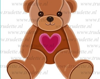 Bear with heart,  Clipart Single, commercial use, Love / red heart Clipart / Digital Clipart , Bear clipart, love clipart, heart, trudette