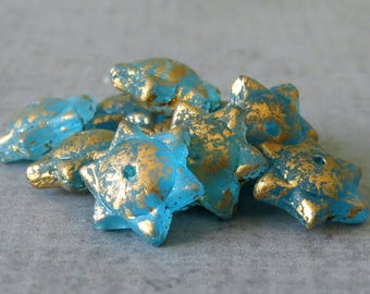 Matte Aqua Gold Dust Czech Glass Bead 12mm Star Saturn Bead : 10 pc Blue Gold Saturn Saucer Bead