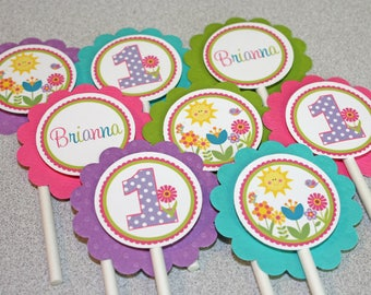 Garden Cupcake Toppers / Flower Toppers / Flower Garden Cupcake Toppers / Garden Birthday Party / Spring Cupcake Toppers / Spring Bithday