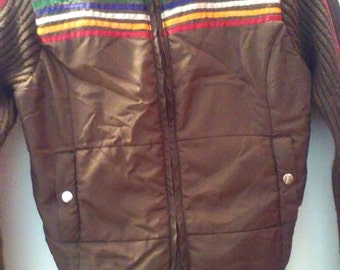 Vintage Ski Sweater/Jacket Brown with Rainbow Stripes