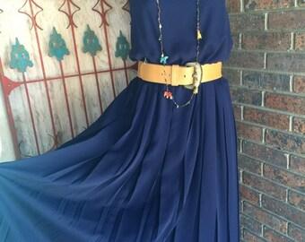Fall sale 1980s dress navy blue dress 80s dress vintage sundress size medium large sheer dress vintage dress blouson
