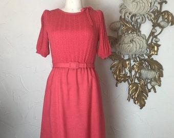 1980s dress knit dress coral dress size medium office dress sweater dress ciao dress vintage dress dress with pockets