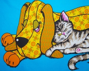 VINTAGE 60s 70s fabric panels kitschy cat dog fabric 2 for 1