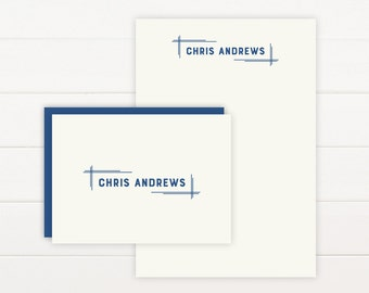 BLUEPRINT Personalized Stationery + Notepad Set, Personalized Notepad and Personalized Stationary - Masculine Business Professional
