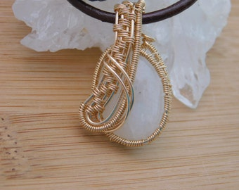 White Rainbow Moonstone Cabachon Pendant Wire Wrapped in 14K Gold Filled Wire Handmade Jewelry Wire Weave Pendant