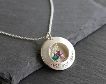 Personalized Locket Necklace; Sterling Silver Hand Stamped Necklace With Birthstones