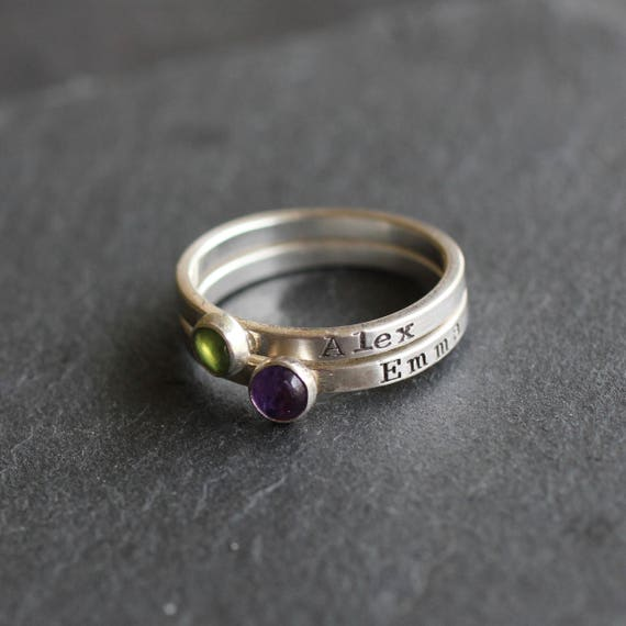 Tiny Personalized Birthstone Ring; Hand Stamped Name Ring With Birthstone; Sterling Silver Mother's Ring
