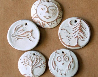 5 Handmade Ceramic Beads - Natural Beads in Neutral Stoneware - Hare, Owl, Sun, Moon over Cedars, and Tree of Life in Rustic Clay - Woodland