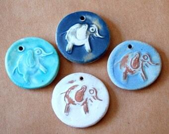 4 Handmade Elephant Pendants - Ceramic beads with a Charming Elephant - Elephant Charm - Handmade Jewelry Supplies - Stoneware Elephant