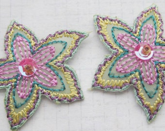 Lilac and Pastel green Floral Iron On Applique  2 small pieces 3.5 cm