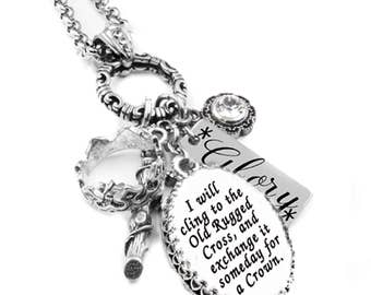 Cross Jewelry - Religious Cross - Hymn Jewelry - Christian Pendant - Cross Pendant - Old Rugged Cross