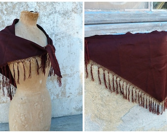 Vintage Antique Victorian 1890 French capelet scarf shawl  brown wool and fringes /timeworn