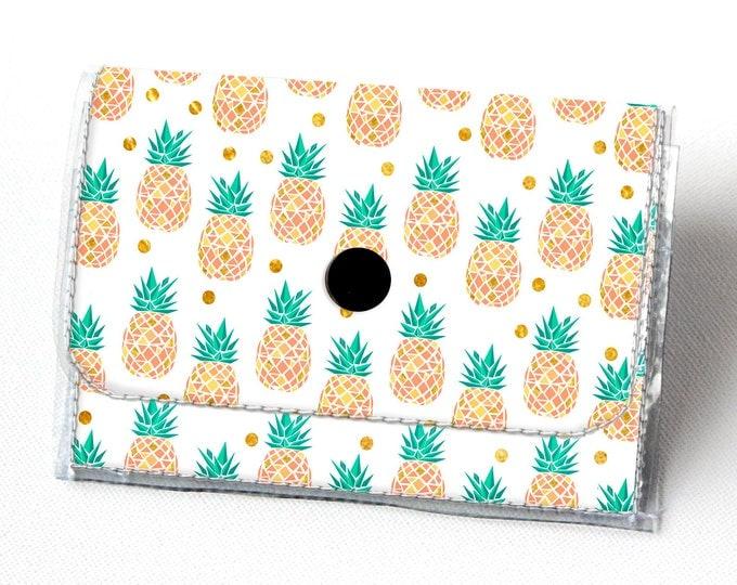 Vinyl Accordion Wallet - Tropical Summer2 /  pineapples, summer, pink, small wallet, snap, cute, card case, vinyl wallet, women's, fruit