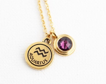 Personalized Zodiac and Birthstone Charm Necklace - Birthday Gift Idea For Friend, Daughter or Wife