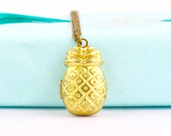 Pineapple Necklace, Pineapple Locket Necklace, Pineapple Jewelry, Whimsical Jewelry, Gold Pineapple, Meaningful Gift