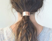 Leather Hair Cuff Ponytail Holder in Rose Gold/Copper size 4inches