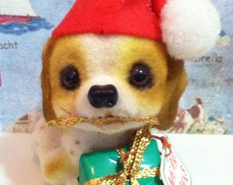 Very RARE Vintage Flocked Porcelain Fuzzy Holiday Puppy Dog Wearing a Miniature Santa's Hat JOSEF ORIGINALS collectible figurine