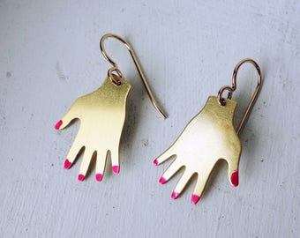 Brass Hand Dangles with Bright Red Nails - Gold Fill Ear Wires