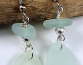 Sea Glass Earrings Sea Glass Jewelry Aqua Sea Glass Earrings Beach Glass Earrings   E-206