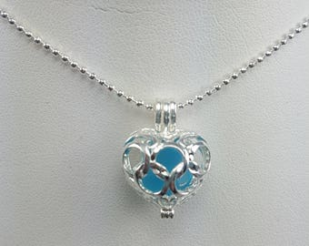 Sea Glass Pendant Sea Glass Jewelry Sea Glass Necklace Filigree Sea Glass Pendant Turquoise Sea Glass - N-534