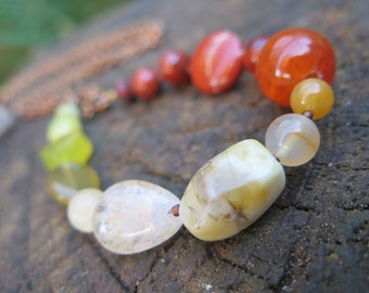 Long Yellow Stone Chunky Chain Necklace - Yellow Green Orange Red - Citrus Bohemian Crystal Jewelry - Gypsy Soul Funky Sunshine - Freespirit