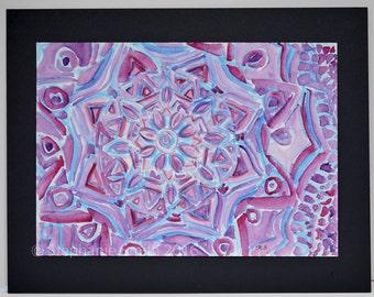 Original Expressive Mandala Watercolor Painting: Mindful Journey